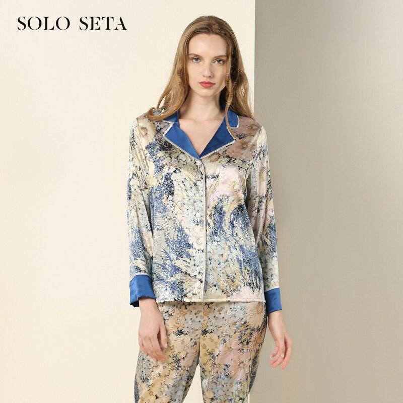 Ms Soloseta-بيجاما حرير ، بدلة من قطعتين ، زهرة زرقاء يمكن ارتداؤها في الهواء الطلق