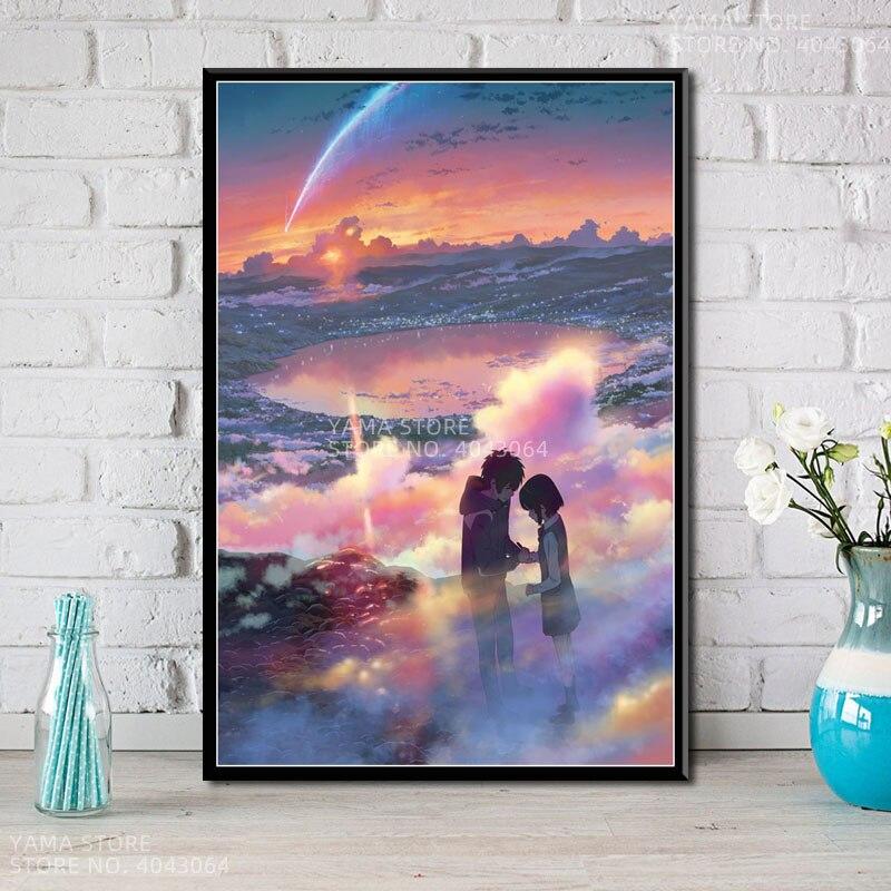 J362 Kimi no na wa, póster de Regalo novedoso de Anime de tu nombre de la película japonesa, pintura de Arte de la pared Decoración, impresiones en lienzo