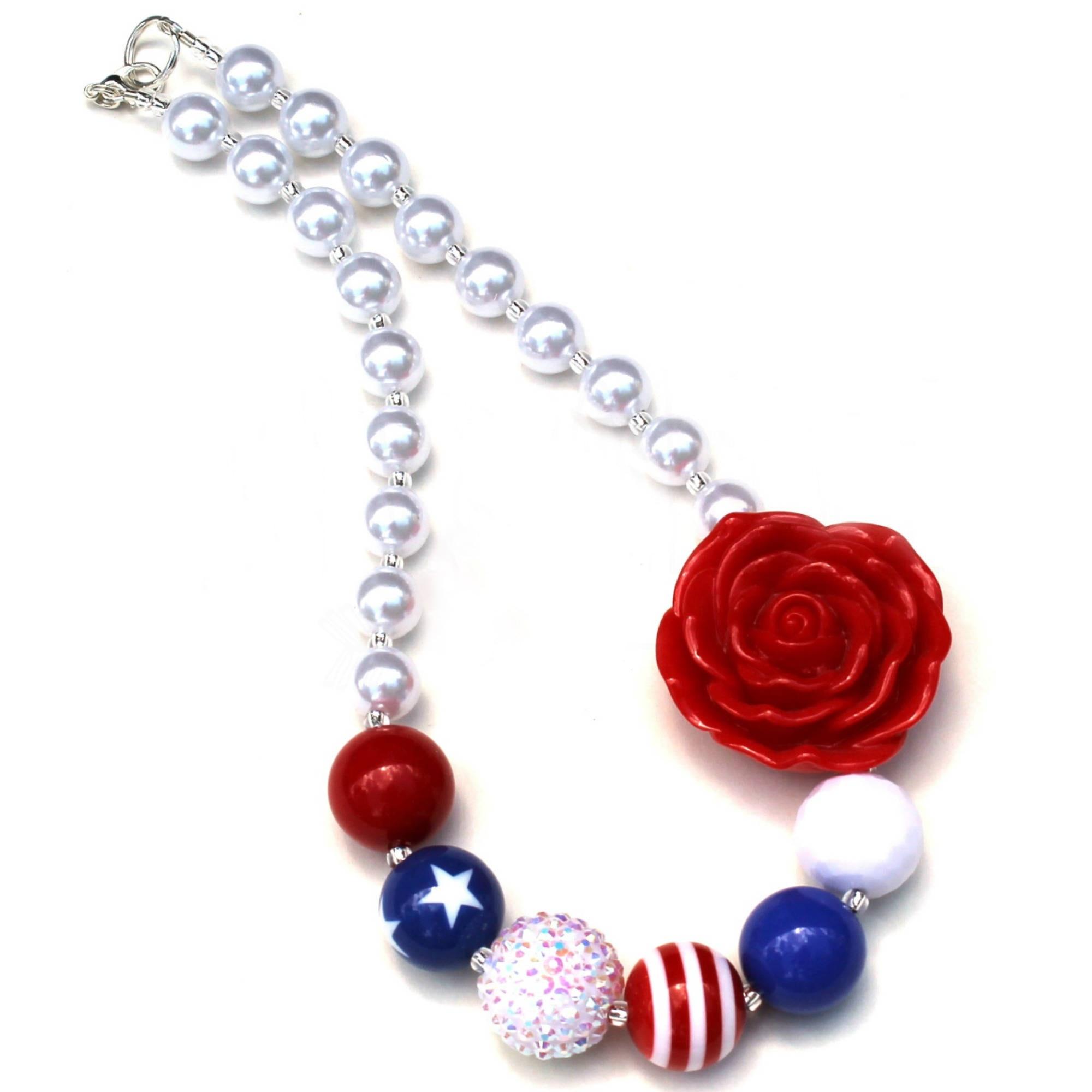 Collar para bebé, collar del 4 de julio, collar para bebés, collar para niñas, collar para fiestas de niñas collar SN39