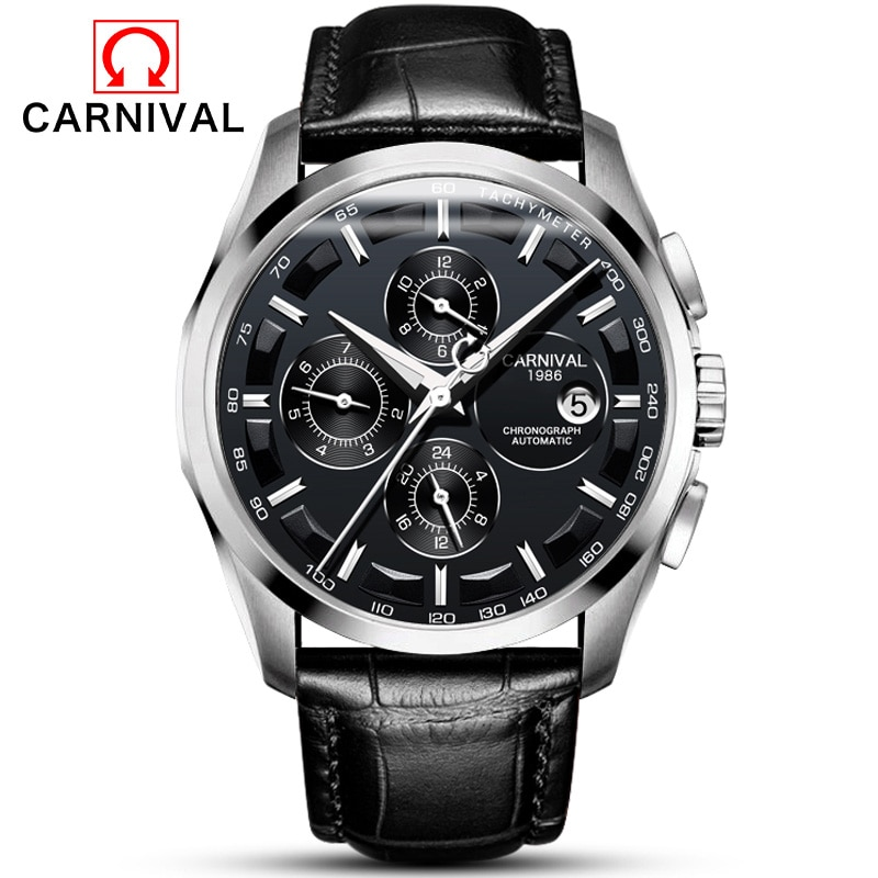 CARNIVAL 2021 New Sports Fashion Men's 24 Hour Display Automatic Mechanical Leather Strap Waterproof Watches Relogio Masculino enlarge