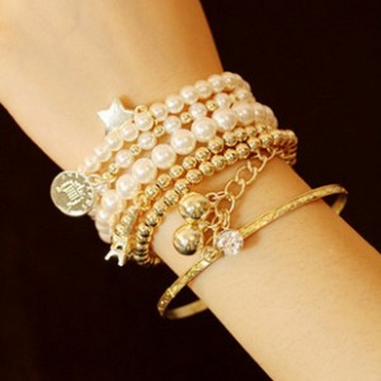 Multi-elemento torre eiffel pérola pulseira vintage com moeda ornamento de seis peças multi-camada pulseira elástica para moda feminina