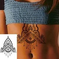 1 piece back or under breast big hindi henna style waterproof temporary tattoo body art sexy waist fake tatoo for girl women
