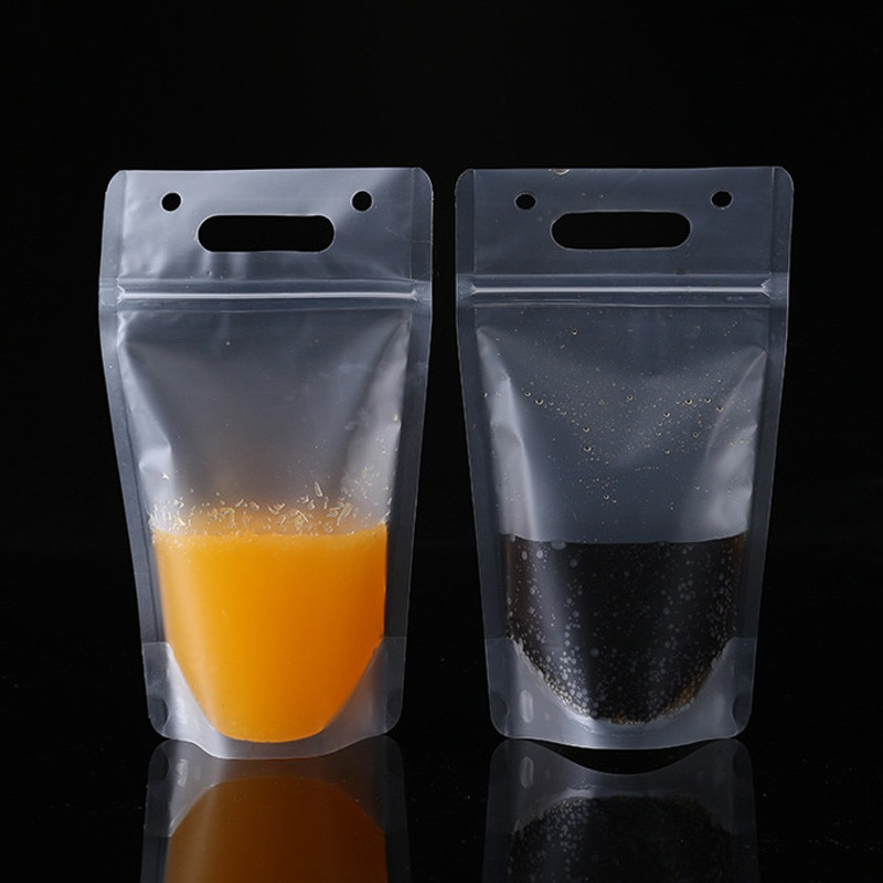 500 قطعة/الوحدة الشرب عصير البلاستيك حقيبة المشروبات متجمد حقيبة مع مقبض الحساء السائل حقيبة المطبخ تجميد لا القش الجملة