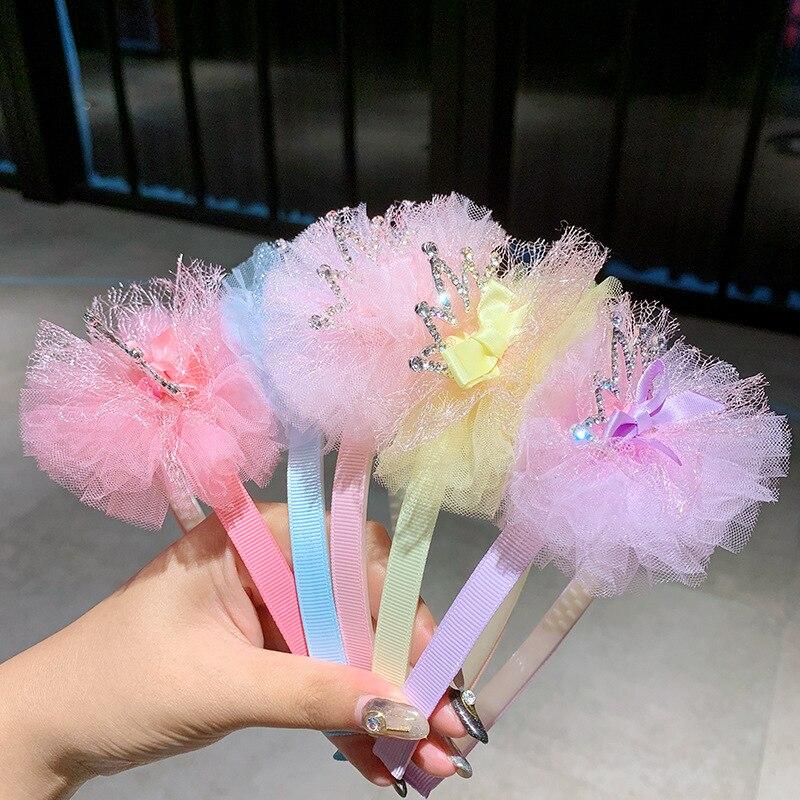 Coreano laço coroa faixas de cabelo para meninas pérola fita de seda strass cabeça banda varas de cabelo boutique fio acessórios de cabelo