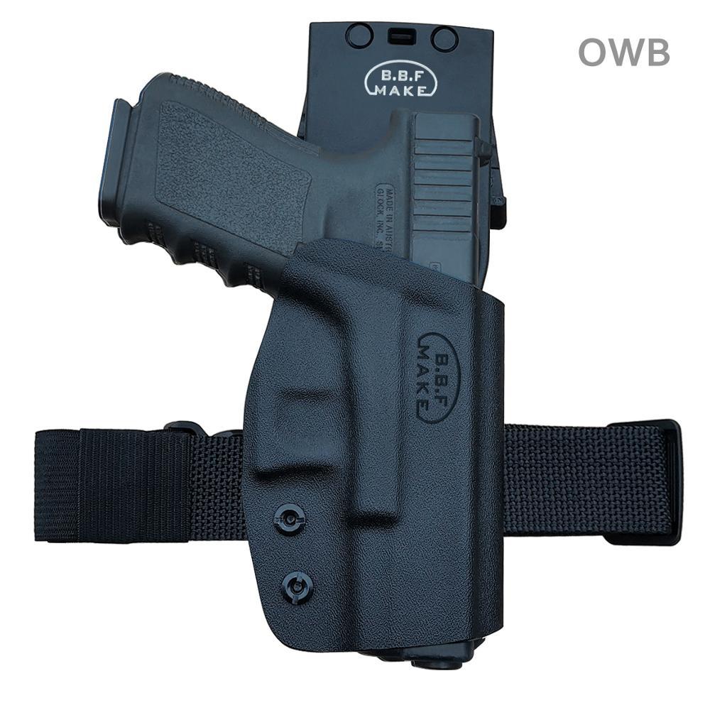 BBF Make Kydex OWB Holster For Glock 19 19x23 25 32 17 22 31 26 27 33 (Gen 1-5) CZ P10 مسدس حافظة حزام خارج حمل