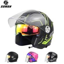 SOMAN Bluetooths мотоциклетный шлем с открытым лицом скутер шлем мотоцикл с Bluetooth гарнитура электрический велосипед шлем ECE Cascos
