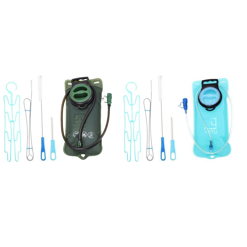 2 l vejiga de hidratación bolsa de almacenamiento de agua para Camping al aire libre con limpieza estante de secado del cepillo
