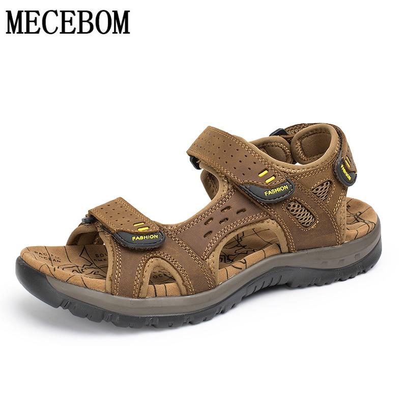 Sandálias de verão genuíno couro de vaca tamanho grande 38-48 homens sapatos casuais velcro praia chinelos sapatos masculinos sandalias