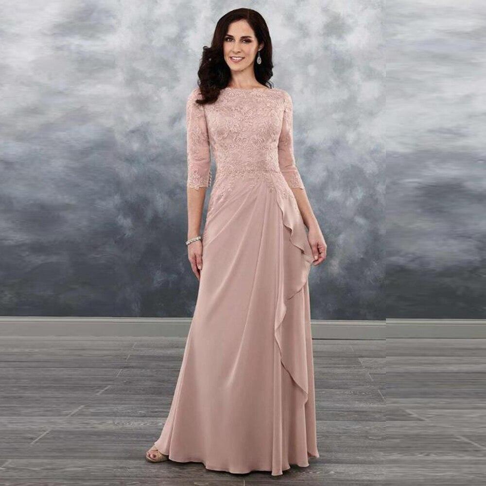فساتين أنيقة من الدانتيل الوردي المغبر لأم العروس 2021 أحدث خط العنق Batean مع 3/4 الأكمام فساتين ضيف الزفاف للبيع