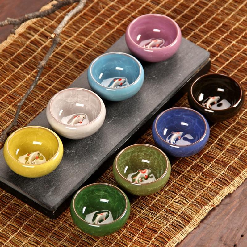 CJ272 colorido hielo craquelado porcelana 8 colores taza de té con motivo de peces cerámica juego de té Kung fu