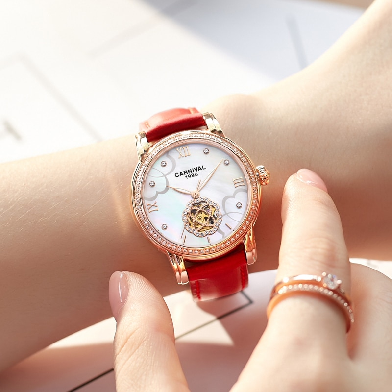CARNIVAL Brand Ladies Fashion Watch Women Waterproof Luxurry Rose Gold Automatic Mechanical Wristwatch Hollow Relogio Feminino enlarge