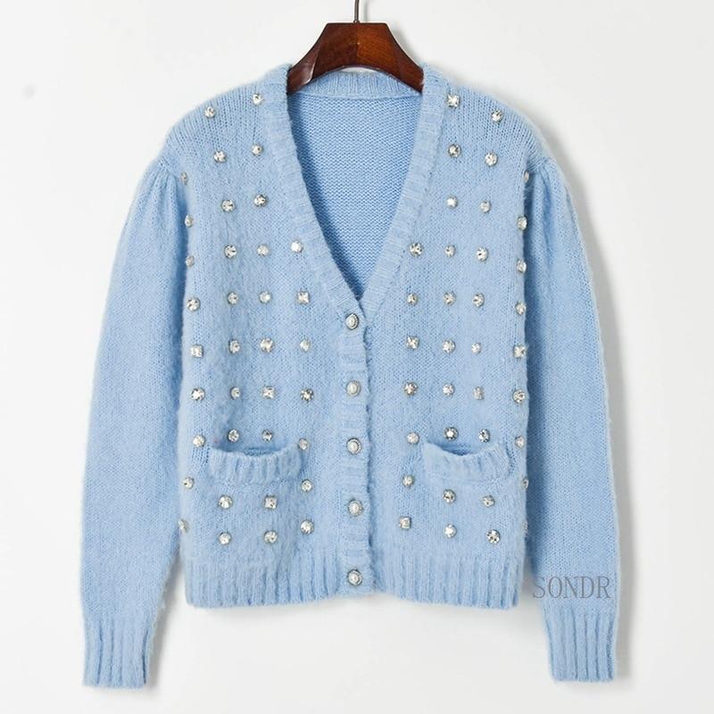 2021 Runway Cardigan Sweater Luxury Crystal Beaded White Cardigan Vintage Puff Sleeve V Neck Single Breasted Knitted Jacket enlarge