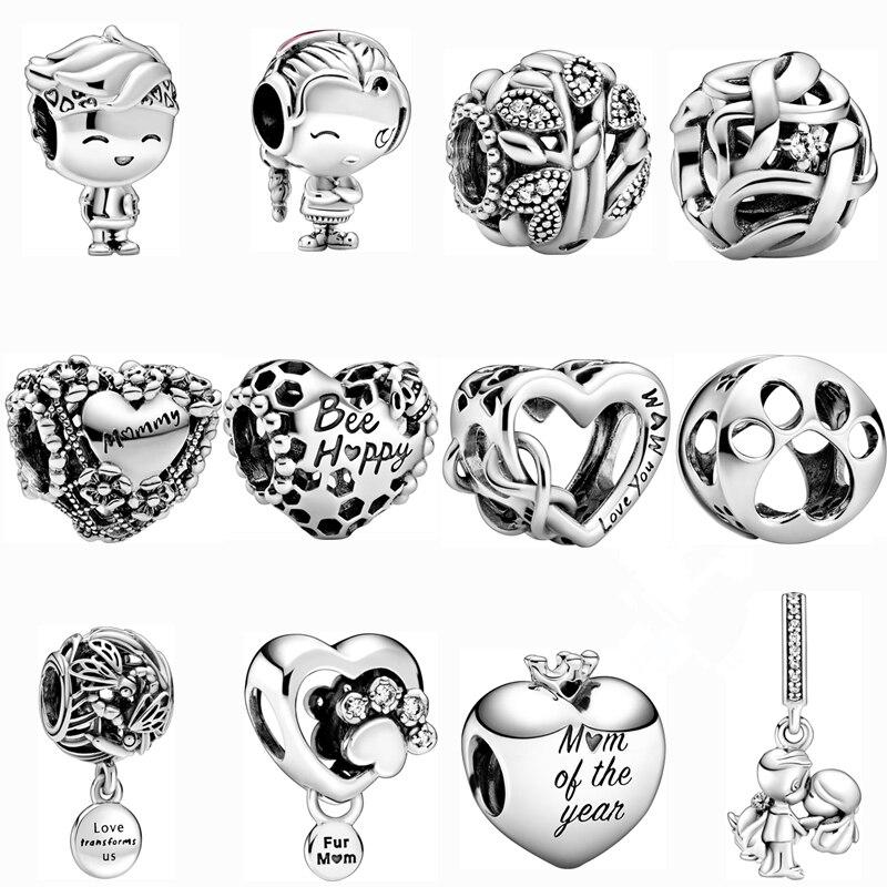 Новый шарм, оригинальные Полые бусины love bee happy, подходят для браслетов Pandora lady, ожерелий, ювелирных изделий, аксессуаров «сделай сам»