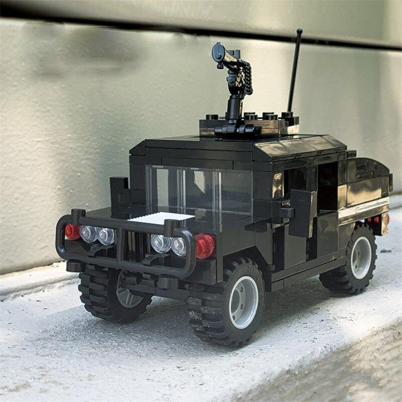 204Pcs Military War Series Desert Hummer Armored Military Car Building Blocks Sets Figures Bricks Toys For Kids