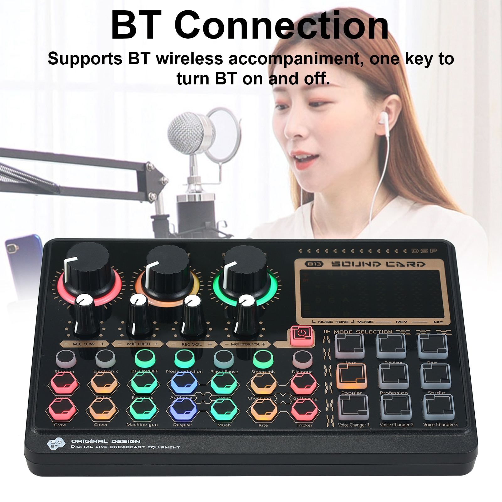 X6mini External Live Sound Card Multifunctional Sound Mixer Board for Live Streaming Music Recording Karaoke Singing 14 Effects enlarge