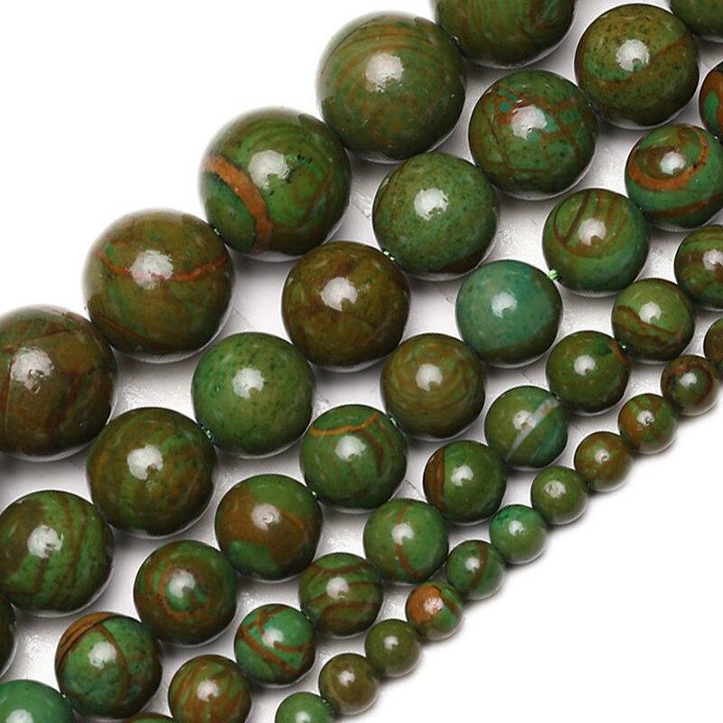 Atacado natural verde jades contas de pedra suave solto redondo verde phoenix gema pedras contas para fazer jóias pulseiras