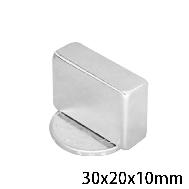 1/2/5/10/20 piezas 30x20x10 fuerte cuadrada de imán de neodimio de 30*20*10 NdFeB poderoso imán de 30x20x10mm bloque imanes de tierras raras