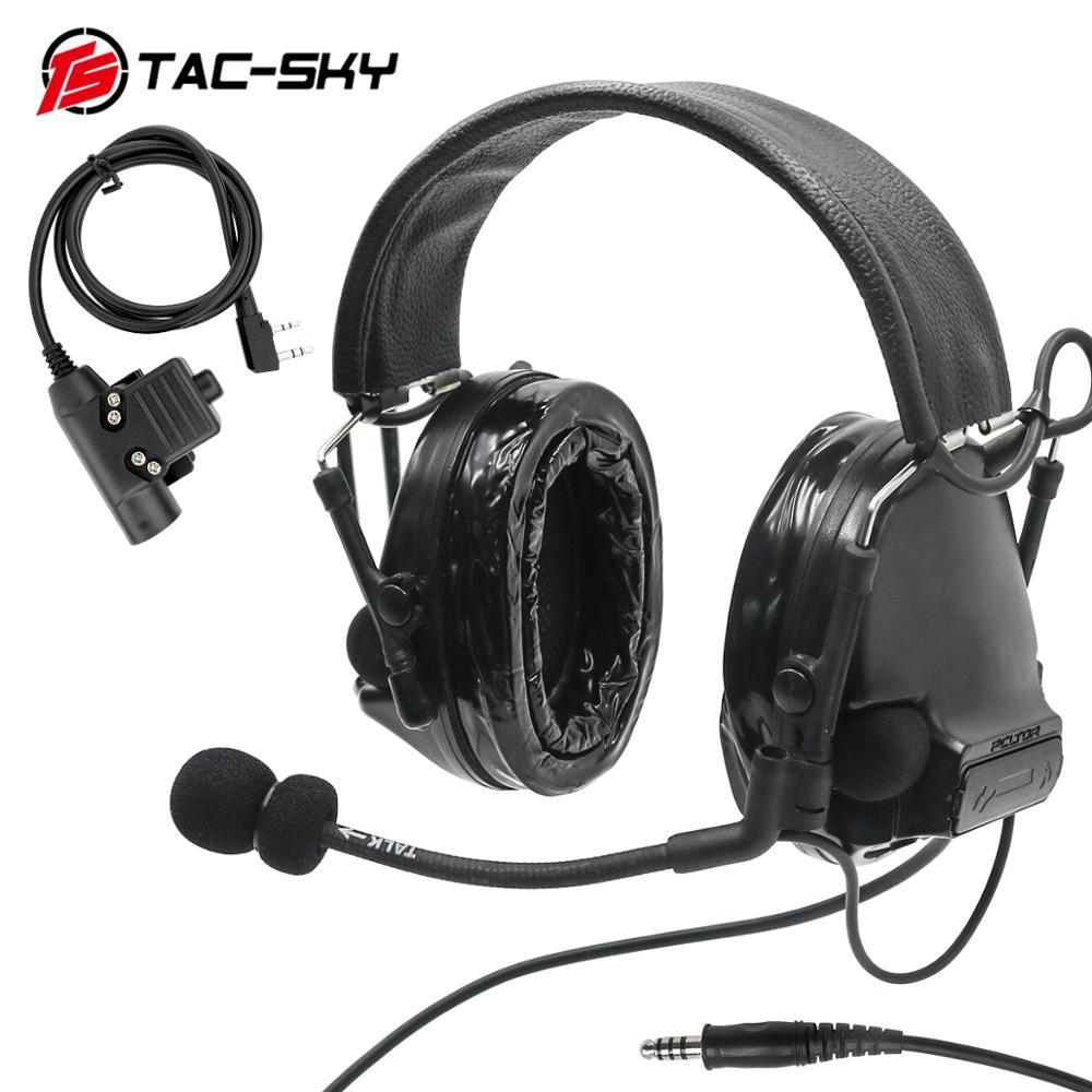 TAC SKY Tactical COMTAC III Upgraded Noise Reduction Pickup Tactical Headset and Military Intercom Tactical  PTT U94 PTT   BK