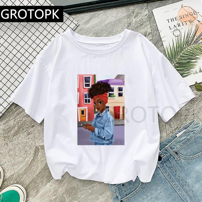 Summer Casual Female Short Sleeve  Art Print Female Tops Black Girl Home Fashion Harajuku T-Shirt Melanin Poppin