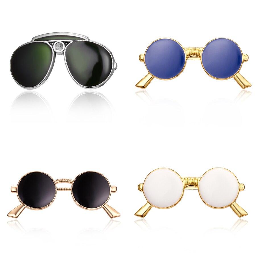 Pines de solapa broches esmalte blanco Negro Azul gafas de sol Pins para Mujeres Hombres traje camisa vestido Collar insignia regalo de la joyería