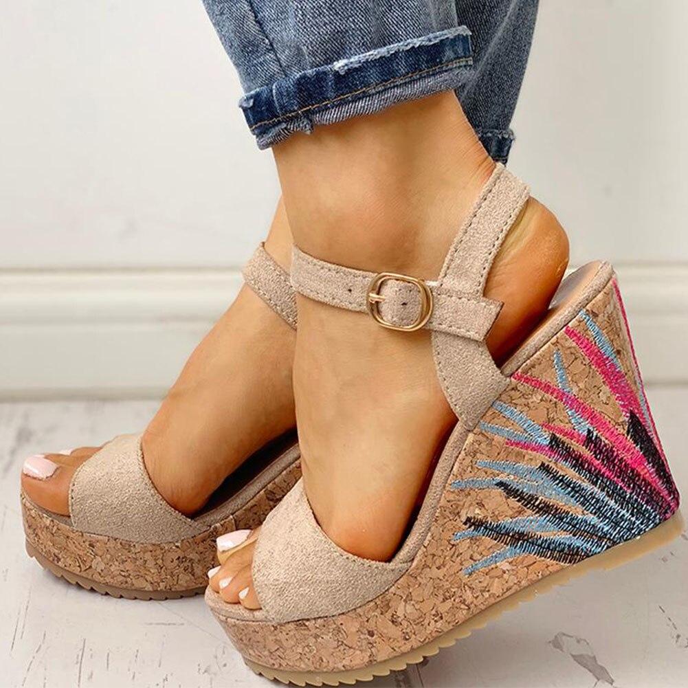 2020 Dropship cuñas zapatos de tacón alto Casual plataforma de impresión cómodo verano tobillo-Correa mujeres Zapatos mujer Sandalias