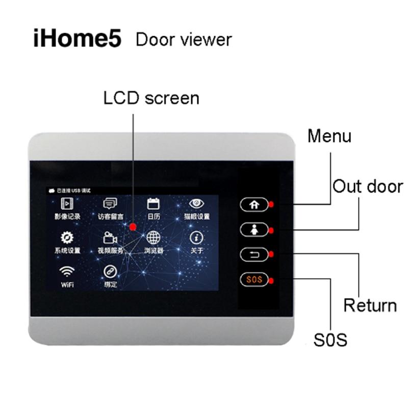 التراكمية iHome5 WiFi الباب عارض والفيديو IP الباب رصد LCD TFT 4 بوصة الفضة الباب شاشة الشاشة مع 8000mah البطارية شحنة فقط