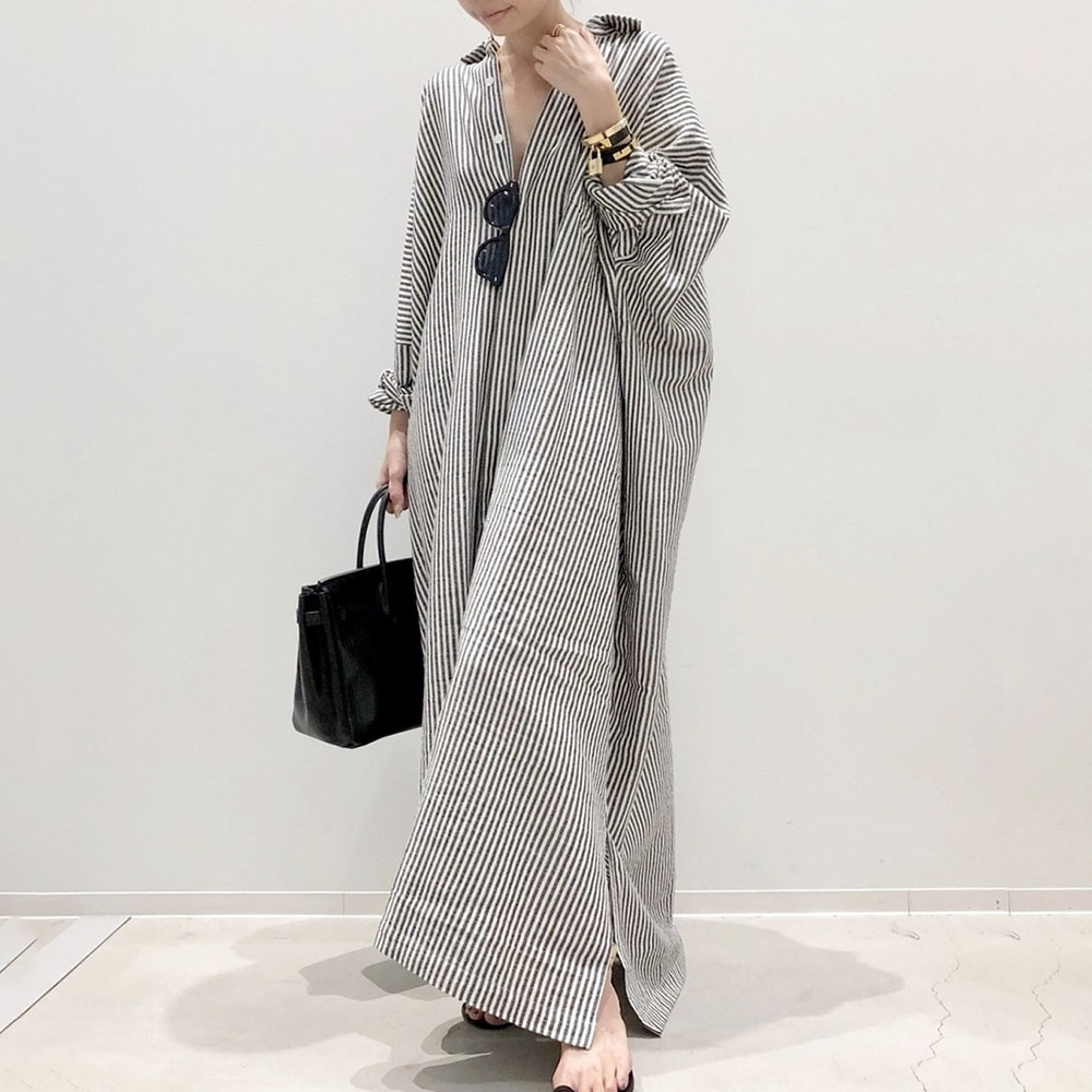 Sukienki Maxi dla kobiet koszula w paski długi guzik na rękawie sukienka moda damska Casual luźny opatrunek linia jednorzędowa sukienka