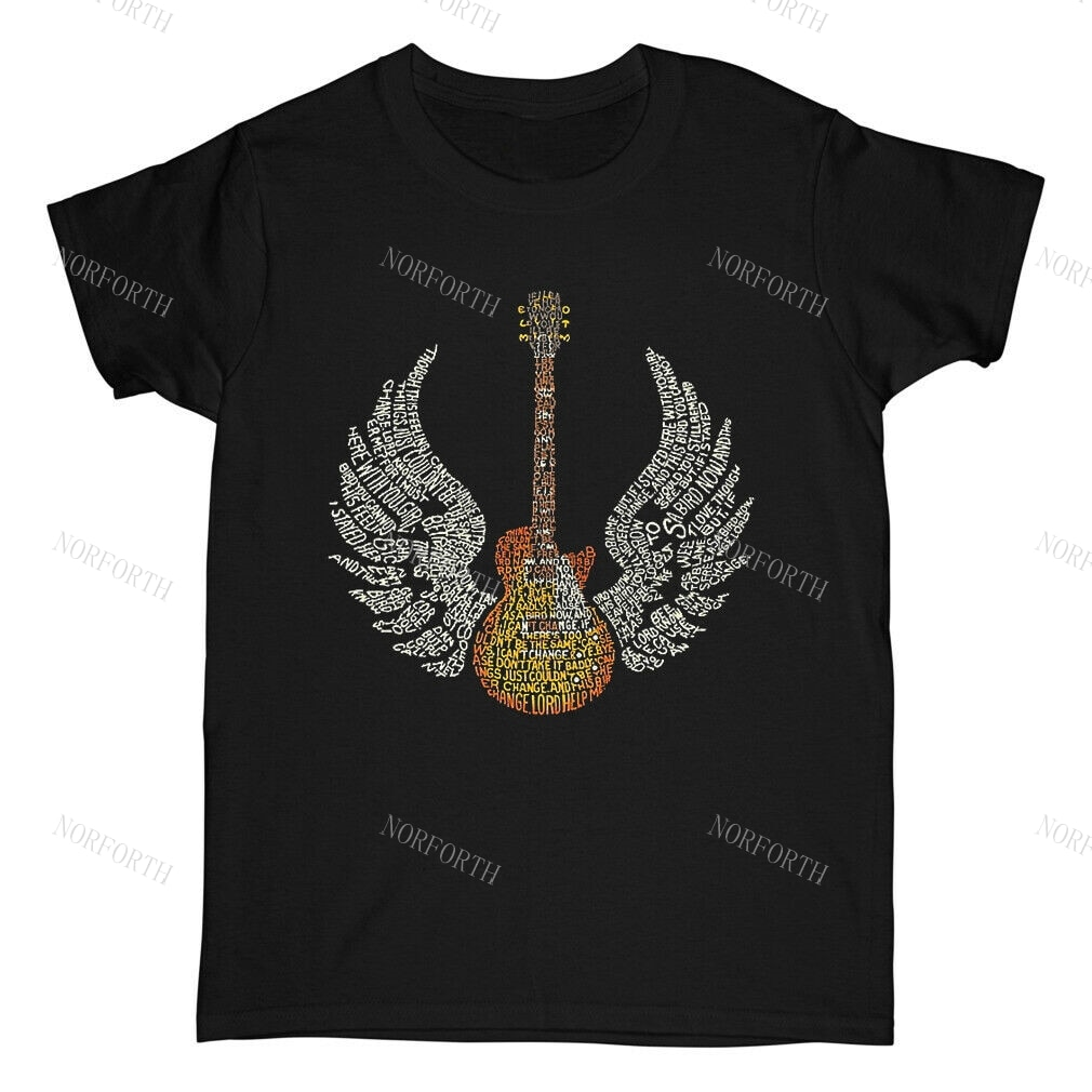 Lynyrd skynyrd-guitarras con letras de música, camiseta de pájaro Unisex, color negro