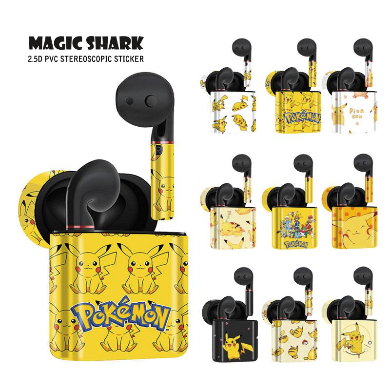 Funda de PVC de dibujos animados de tiburón mágico Pikachu Pokemon para HUAWEI Freebuds 2 & 2 Pro No se decolora