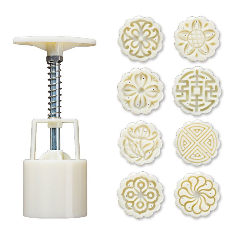 8 Uds prensa de mano sello Luna pastel decoración moldes barril molde de Mooncake 25g de E15B
