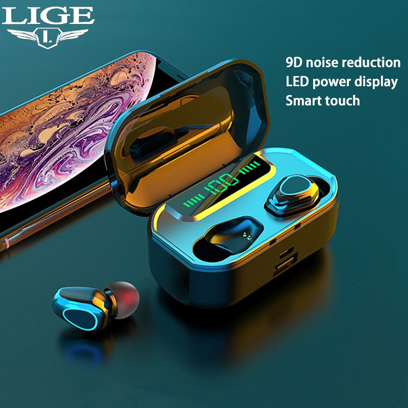 Nuevo auricular Bluetooth TWS LIGE, auriculares estéreo Bluetooth V5.0 3500 mAh, auriculares inalámbricos deportivos impermeables con pantalla LED
