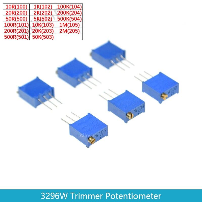 10pcs 3296W 3296 102/202/502/103/203/503/104/204/504/1M/2M 50 20 10K K K 100K 200K 500K 1m ohm 10r trimpot aparador potenciômetro