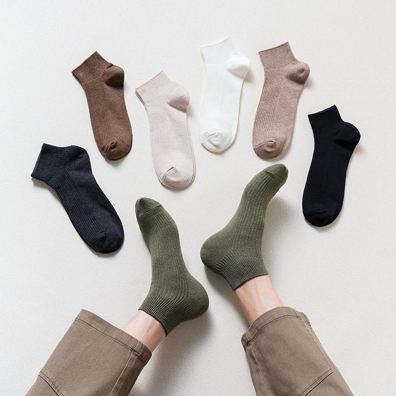 Новинка весна-лето 2021 мужские носки японские однотонные полосатые короткие носки Мужские Простые Модные хлопковые мужские носки-лодочки
