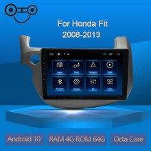 Ajustement Android 10.0 Octa Core 4 + 64G Gps Navigation lecteur de voiture Radio pour Honda Fit 2008-2013