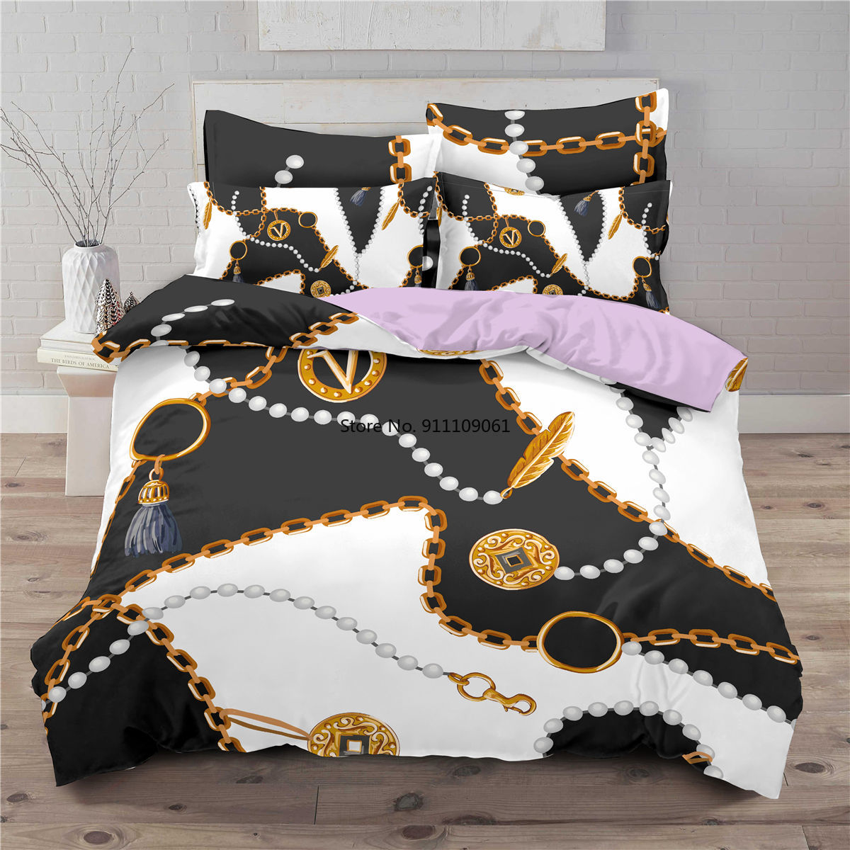 ثلاثية الأبعاد أنماط الباروك المعزي طقم سرير الذهب والأسود واحدة التوأم كامل الملكة لحاف سرير الحجم المزدوج مجموعة المخدة الفاخرة