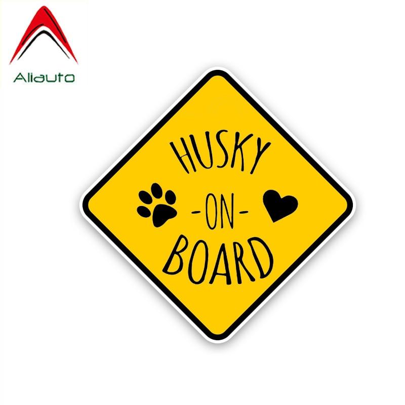 Aliauto pegatina de advertencia para coche Husky a bordo y accesorios de impresión de perro encantador PVC adhesivo reflectante para Renault Opel SEAT, 14cm * 14cm