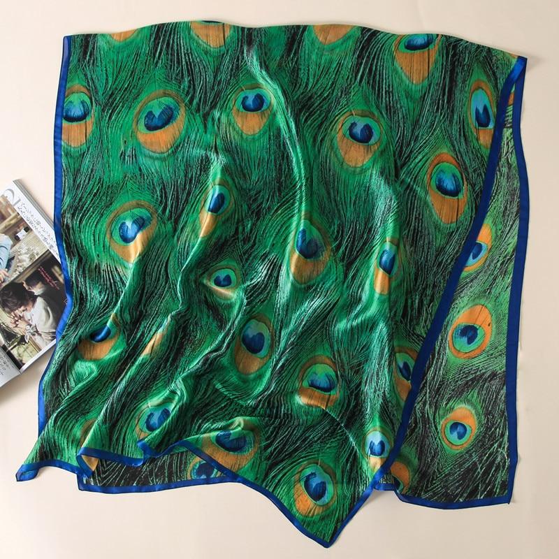 2020 marca de luxo animal verde pavão pena xale seda cachecol feminino senhoras praia bandanas foulard sjaal envoltório hijab tampas