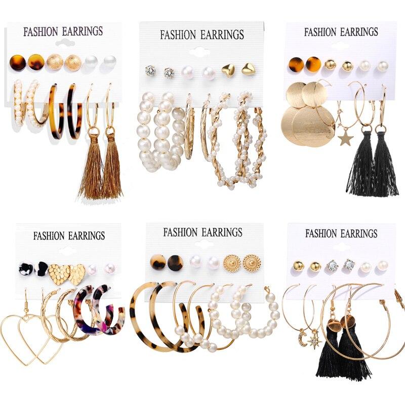 Vintage oro perla círculo gota pendientes Set para las mujeres niña ronda acrílico tortuga cuelga pendiente oreja 2019 Nueva joyería de moda