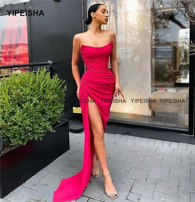 Yipeisha بلا أكمام حورية البحر فستان حفلة موسيقية طويل مثير الجانب سبليت ثوب مسائي رداء دي سهرة فستان حفلات الزفاف