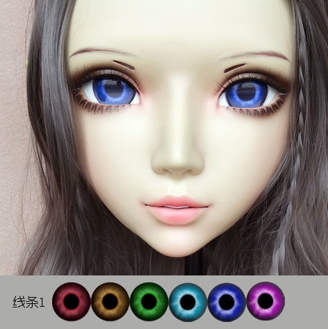 (GL073) dulce chica de resina media cabeza BJD Kigurumi máscara con ojos Cosplay Anime rol Lolita máscara Crossdress muñeca