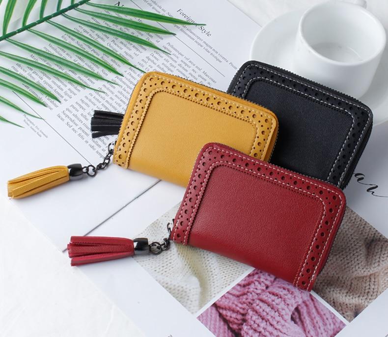 Кожаный чехол JANE'S для женщин, 24 бита, с кисточками, отделением для карт, отделением для паспорта