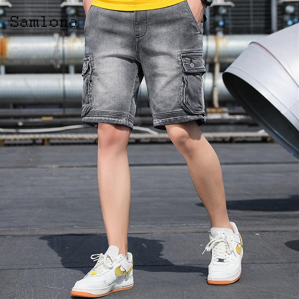 Джинсовые шорты мужские, пикантные модные джинсовые брюки-карго, со множеством карманов, повседневные джинсовые, короткие штаны из денима, ...