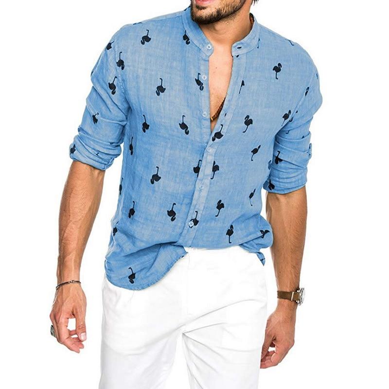 Camisas hawaianas Caual para hombres, camisas de manga larga con estampado de flamencos, camisas de cuello alto para hombres, M-3XL, camisa suelta y transpirable para hombres