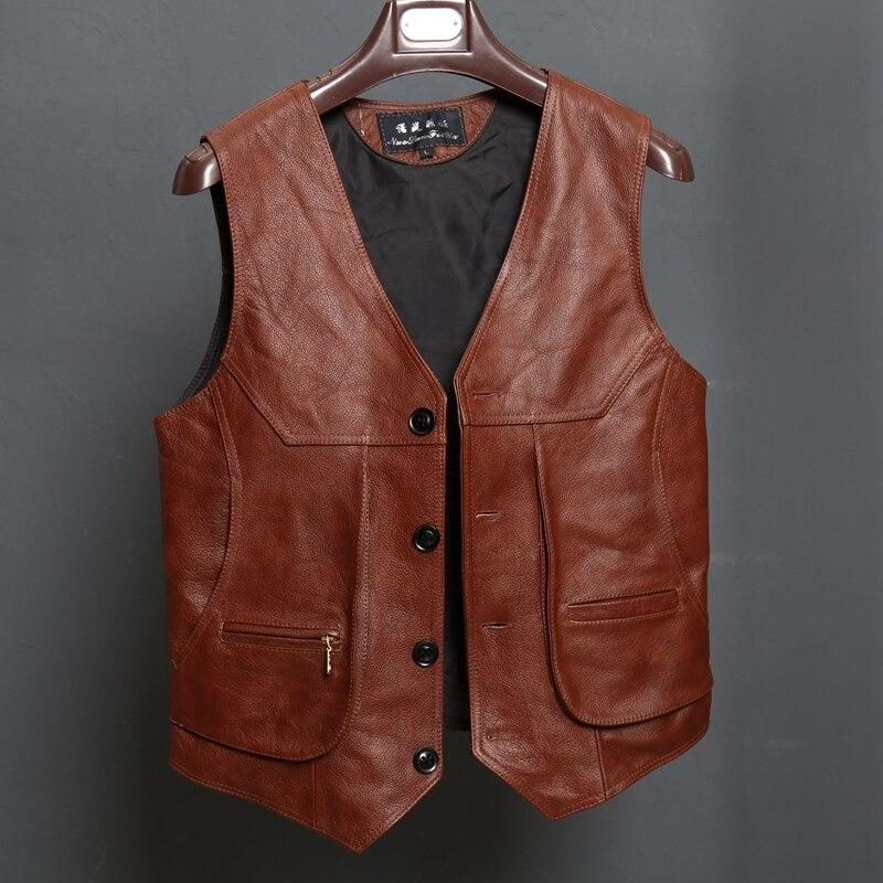 BONJEAN, recién llegado, Chaleco de cuero para motocicleta, para hombre, ajustado, Real, marrón, cuero de vaca, chaleco de motorista, chaleco de talla L-8XL