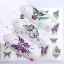 1PC nail art eau décalcomanies noir araignée papillon chat estampage ongles art conseils décoration ultra mince transfert deau décalcomanies FW041