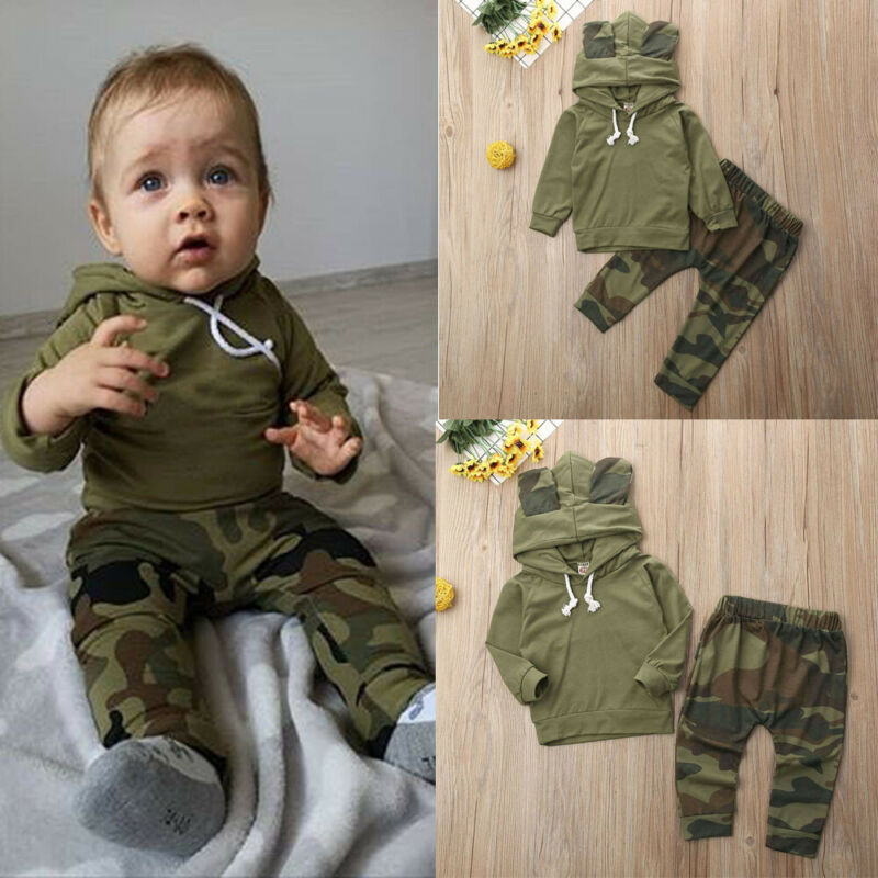 Bebé niño niñas 0-24M de manga larga Camo camiseta + Pantalones ropa de recién nacido