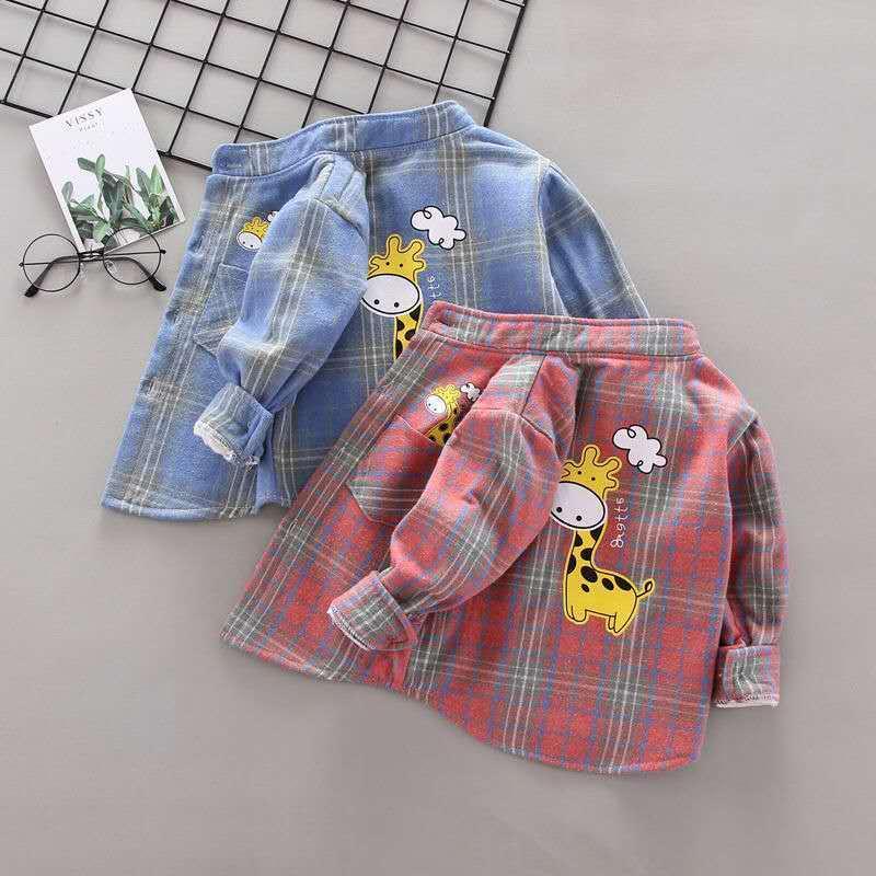 Children New Plush Shirt Toddler Kids Baby Boys Long Sleeve New Fashion Back Cartoon Printed Children Clothes 1-6T
