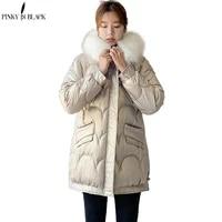 pinkyisblack 2021 new winter womens coat fur hooded female warm cotton padded jacket winter ladies parkas long women clothing