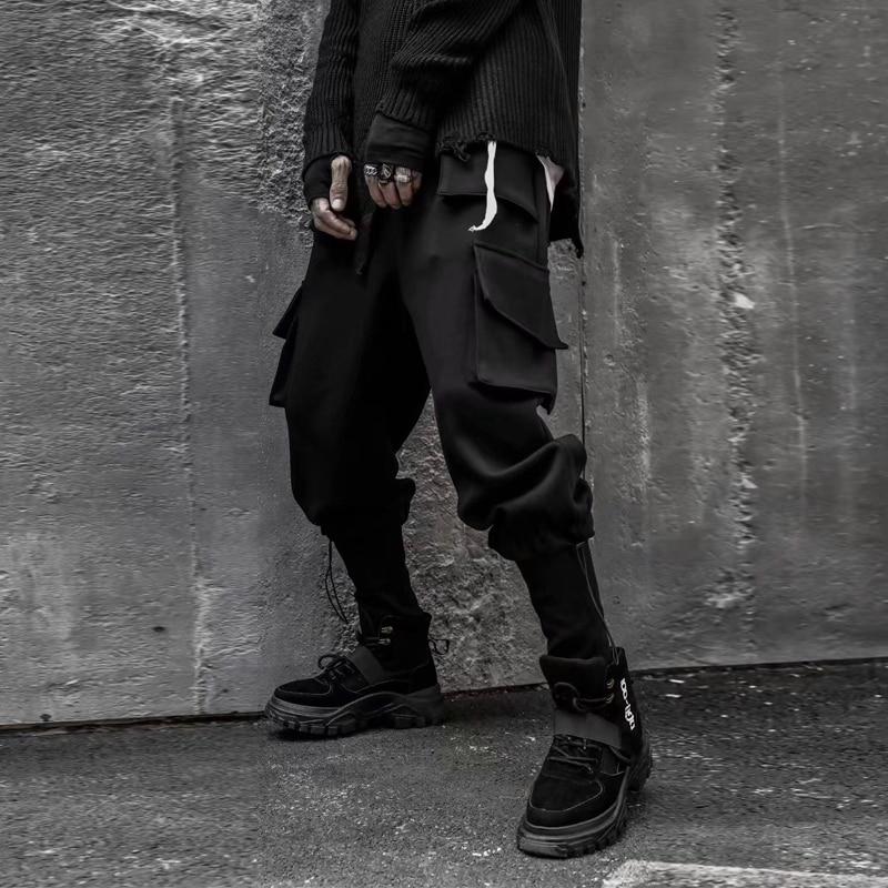 Invierno cálido negro bolsillos Cargo pantalones hombres Thicken Hip Hop masculino Tatical pantalones jogging casual Hombre Streetwear Pantalones