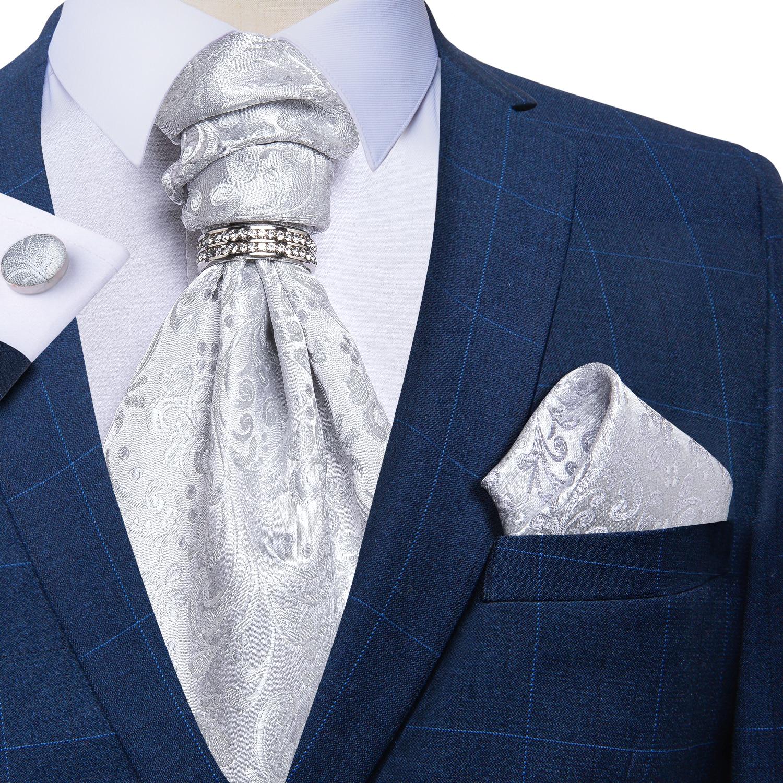 Men Luxury Silver Paisley Silk Ascot Tie Set Wedding Party Cravat Ties Handkerchief Cufflinks Necktie Ring Sets DiBanGu